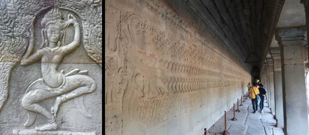バンテアイクデイ遺跡のアプサラ(左) アンコールワット「乳海撹拌」図(右)